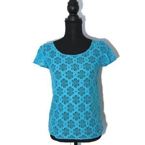 Lilly Pulitzer Blue Lace Sheer Top Yellow Zipper